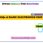 MCQs of Basic Electronics Questions Test with Answer Key PDF