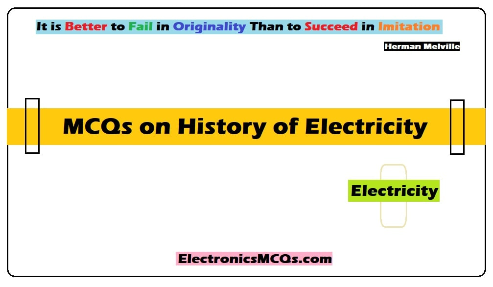 MCQs on History of Electricity
